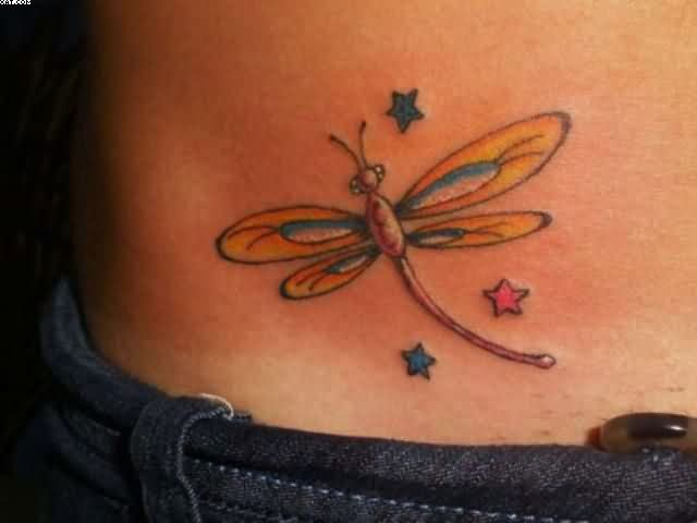 Dragonfly With Little Stars Tattoos On Waist