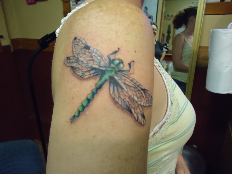 Dragonfly Women Tattoo On Shoulder