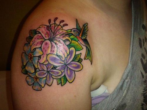Dragonfly n Flowers Tattoo On Right Back Shoulder