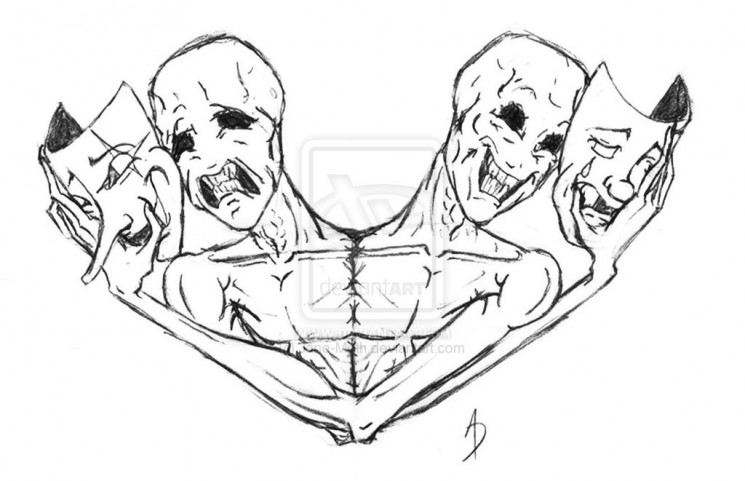 Drama Masks Tattoo Design For Men