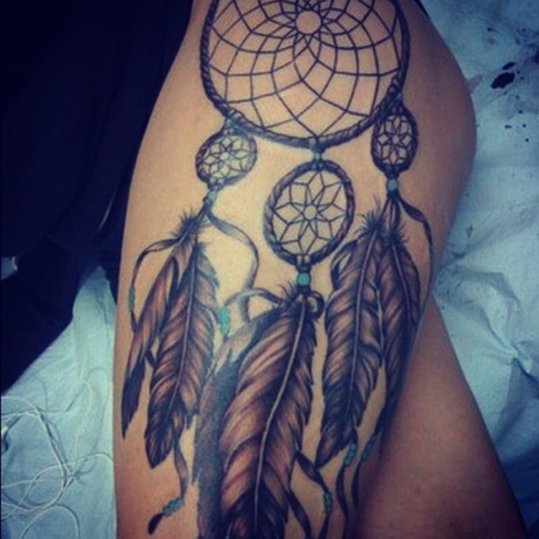 Dream Catcher Right Thigh Tattoo