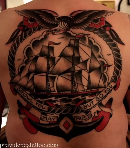 Eagle And Anchor Ship Tattoos On Backside