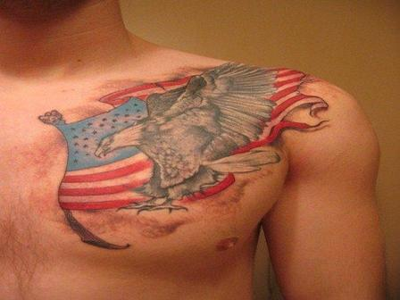 Eagle Flags Patriotic Tattoo On Biceps