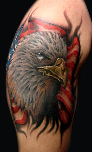 Eagle Head n US Flag Tattoo Design