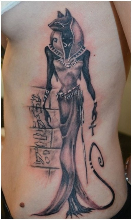 Egyptian Mummy And Beetle Tattoos On Side