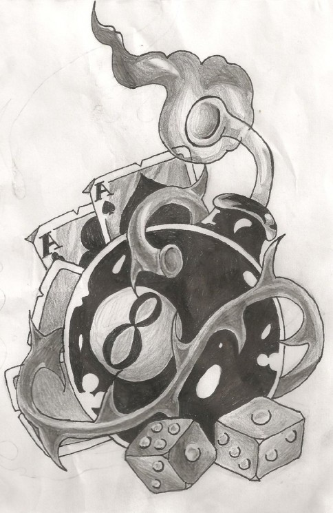 Eight Ball Gambling Tattoo Design
