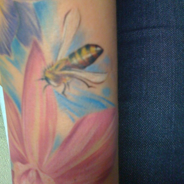 Elegant Bee Tattoo On Arm