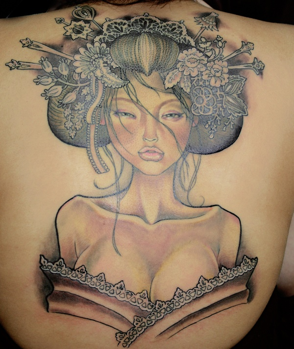 Elegant Geisha Tattoo Picture