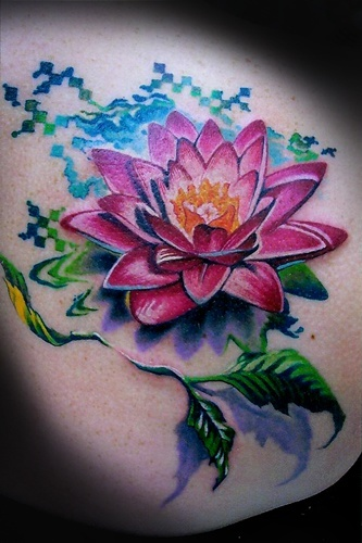 Elegant Lotus Tattoo On Upper Back