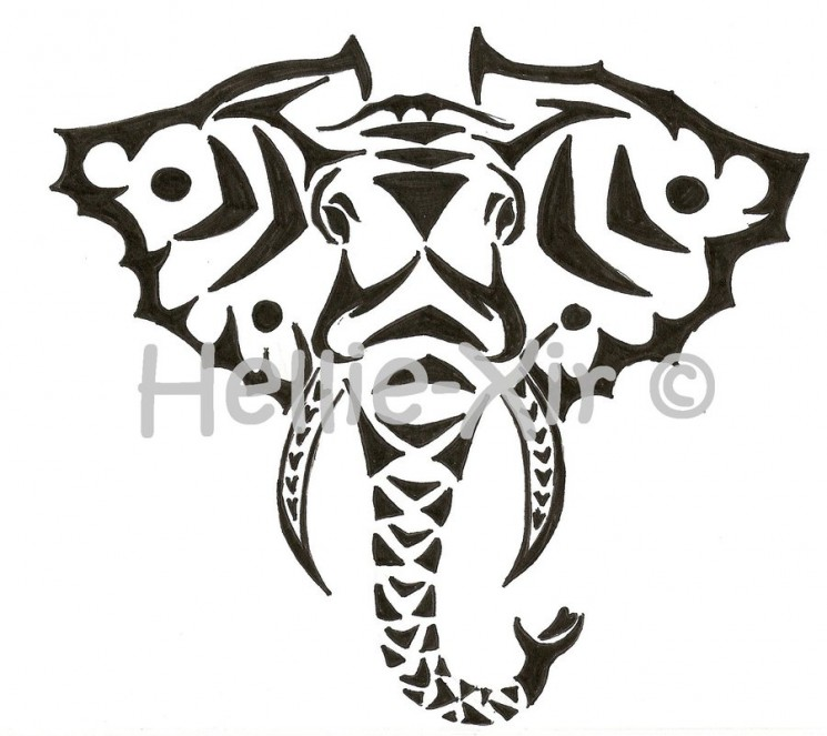 Elephant Head Tattoo Sample