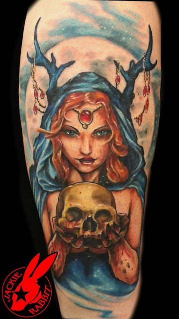 Evil Fairy Queen With Skull Tattoo