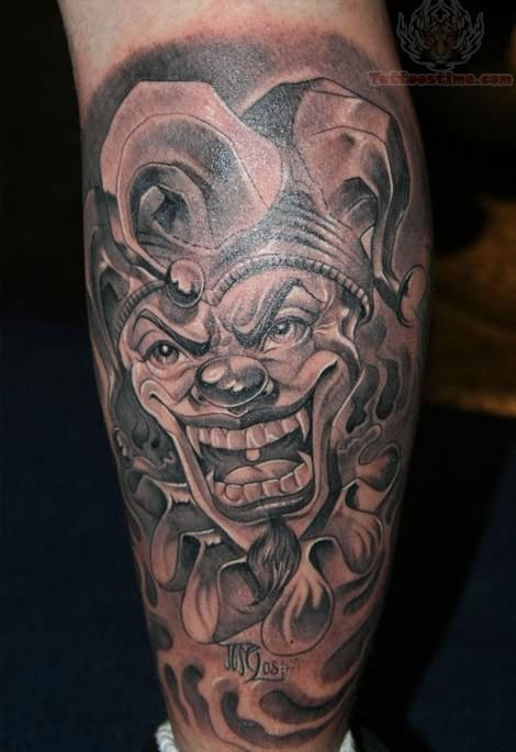 Evil Joker Clown Tattoo On Shoulder