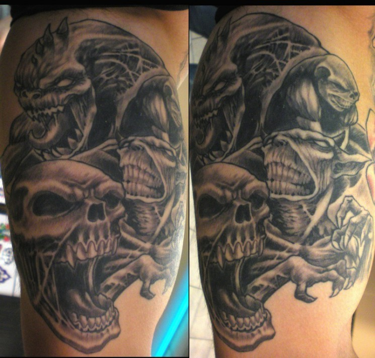 Evil Monster Skull Tattoo Designs