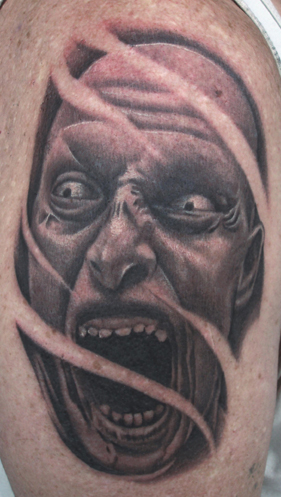 Evil Scary Zombie Face Tattoo Picture