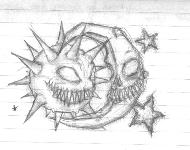 Evil Sun And Moon Tattoo Sketch