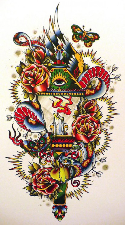 Eye Candle Lamp With Roses Tattoo Design