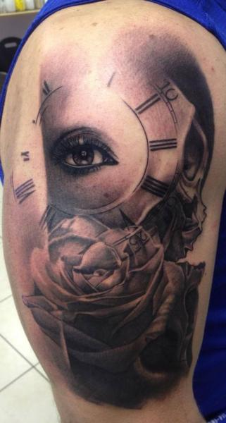 Eye Clock And Lettering Tattoos On Whole Leg