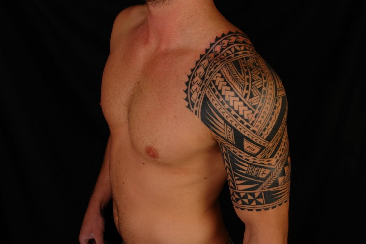 Eye Pyramid And Flower Tattoos On Chest For Guys