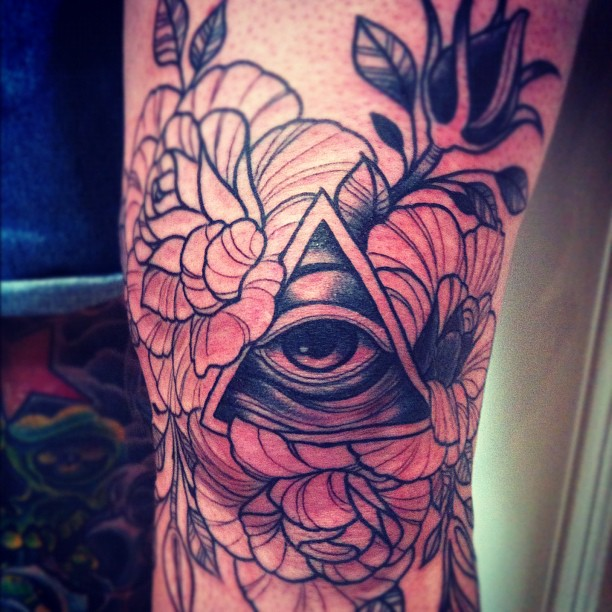 Eye Triangle With Rose Tattoos On Knee