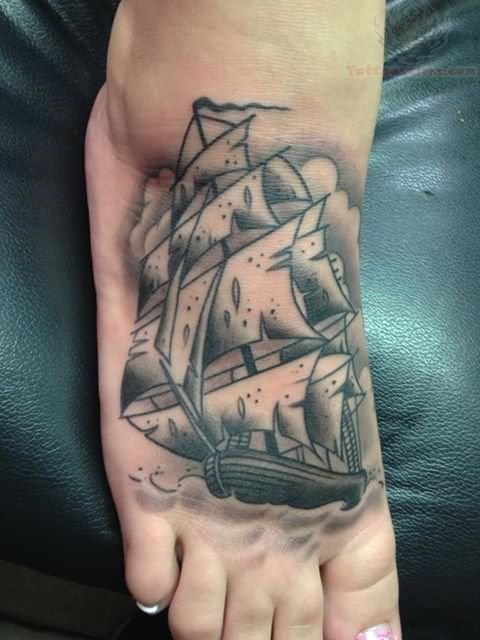 Fabulous Grey Ink Ship Tattoo For Foot