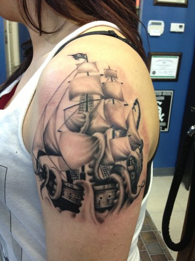 Fabulous Grey Ink Ship Tattoo On Shoulder