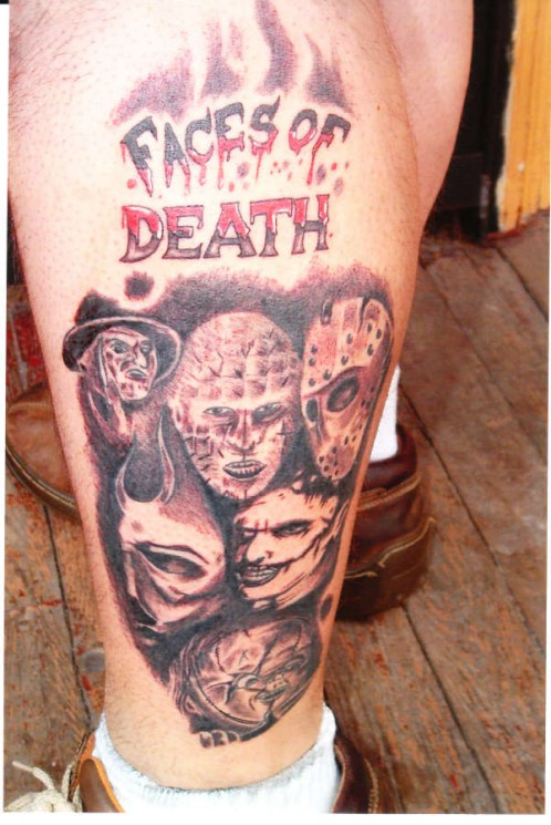 Faces Of Death Tattoo Designs On Legs