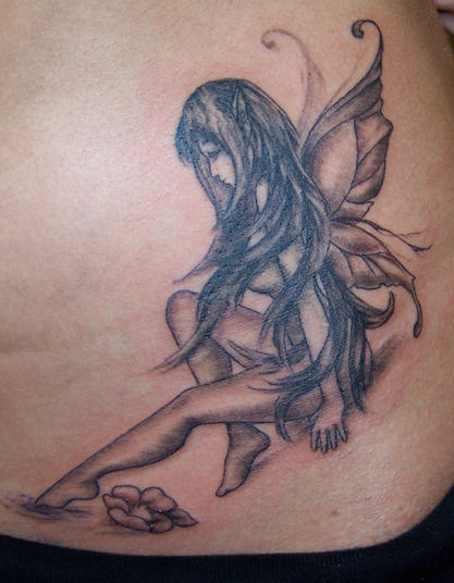 Fairy On The Moon Tattoo On Back Shoulder