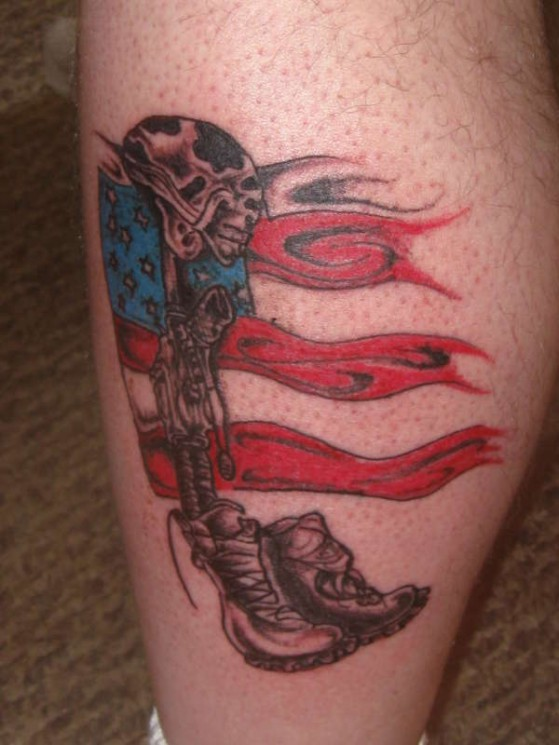 Fallen Army Soldier Remembrance Tattoo On Back
