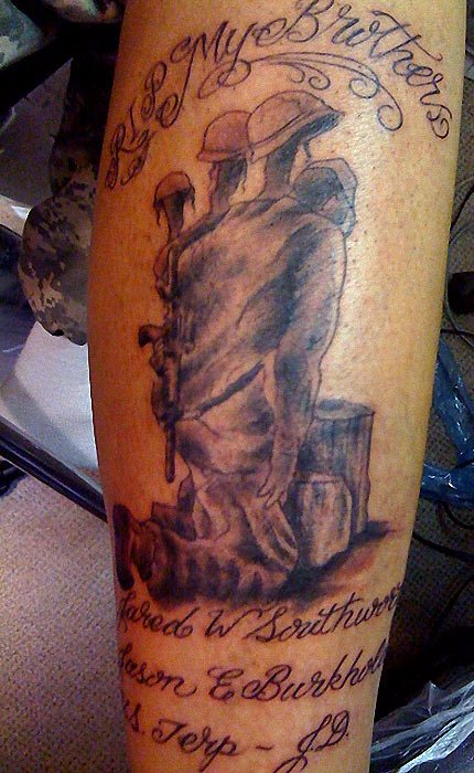 Fallen Military Soldier Tattoo Design