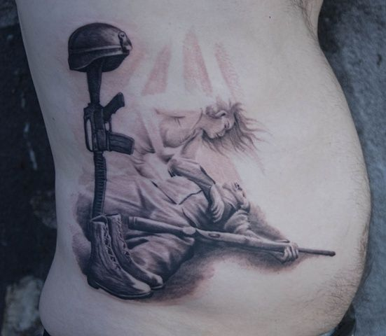 Fallen Military Tattoo Design With Banner