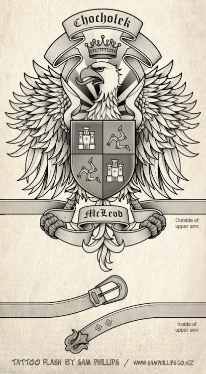 Family Crest Coat Of Arms Tattoo On Shoulder