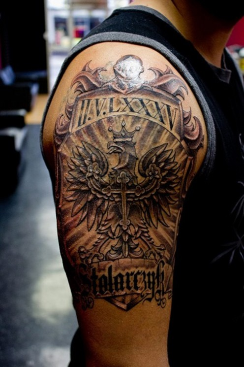 Family Crests Upper Arm Tattoo For Guys