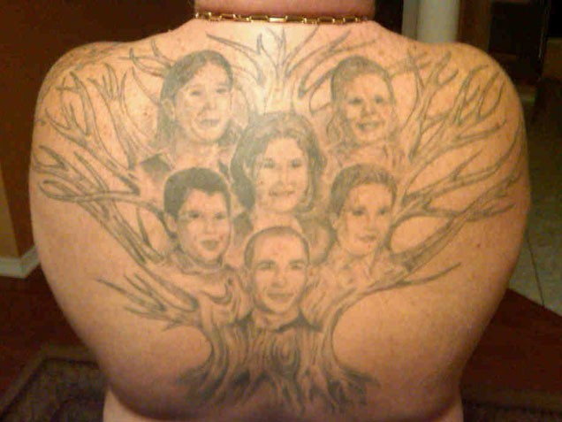 Family Portraits Tree Tattoos On Back