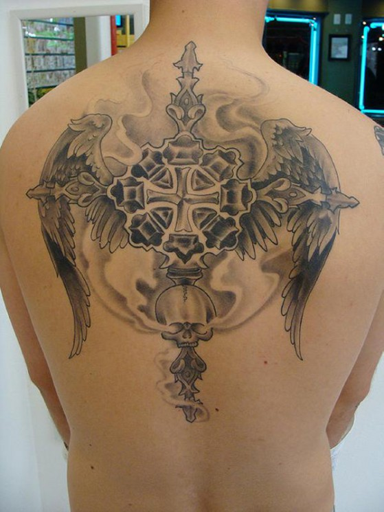 Fantastic Angel Wings Tattoo On Back Of Body