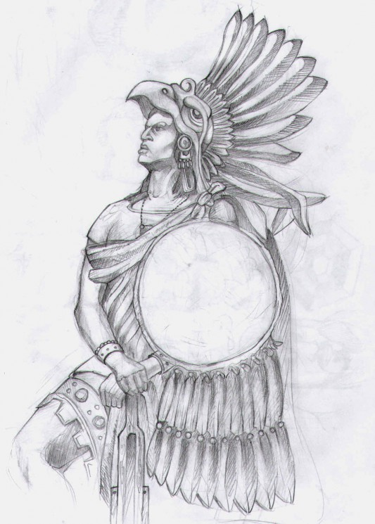 Fantastic Aztec Warrior Tattoo For Back