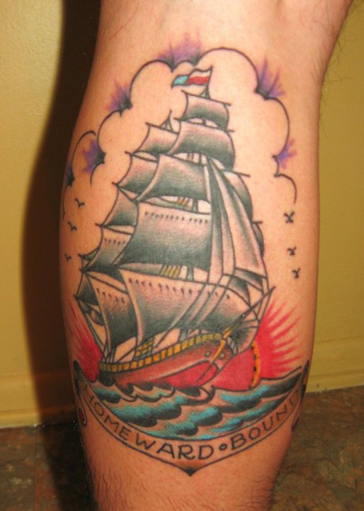 Fantastic Traditional Ship Tattoos On Ribs
