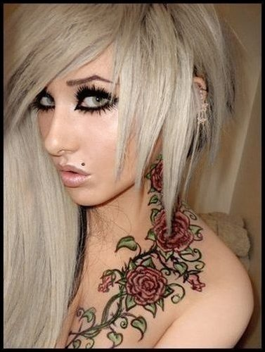 Fashion Girl With Rose Vine Neck Tattoo