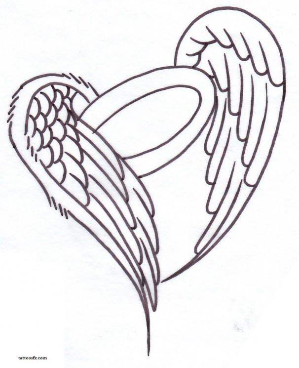 Feather Angel Wings  Tattoo Stencil
