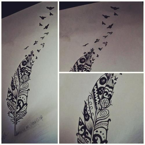 Feather Aztec Girl Tattoo Design