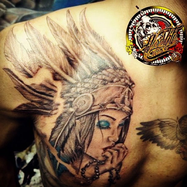 Feather Aztec Girl Tattoo On Chest