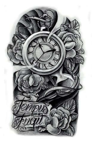 Feather Flowers And The Clock Tattoos On Leg