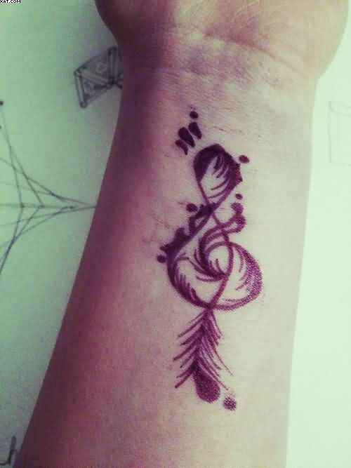 Feather Infinity Tattoo On Wrist Of Girl