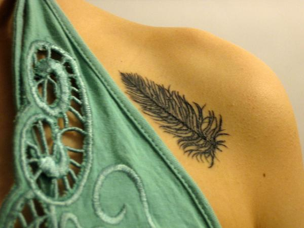 Feather Tattoo On Back Arm For Men