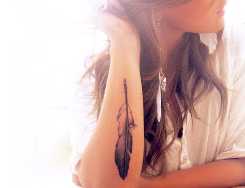 Feather Tattoo On Lower Arm For Girls