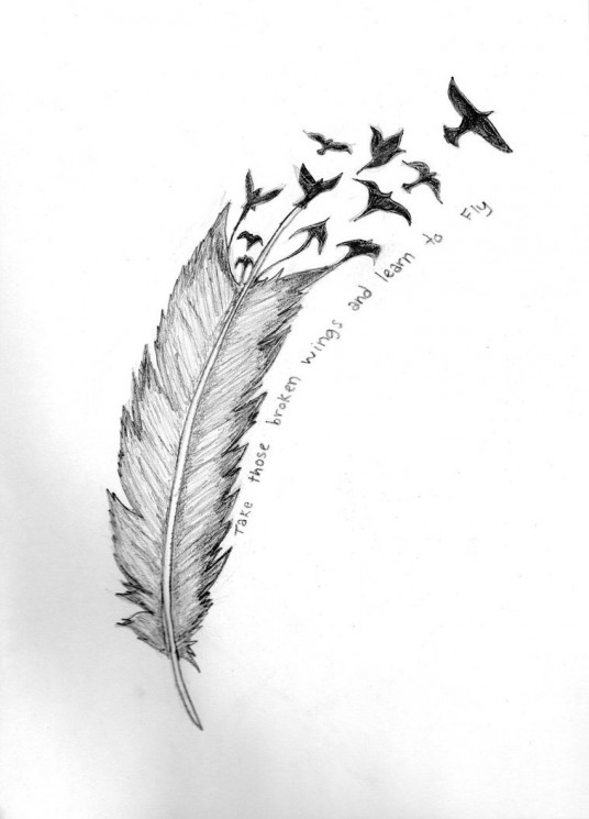 Feather Turning Into Crows Tattoo On Side