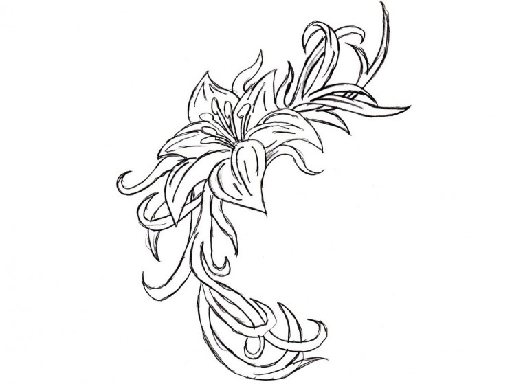 Female Mask And Flowers Tattoo Design