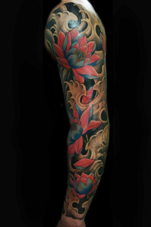 Fire And Blue Lotus Tattoo Design