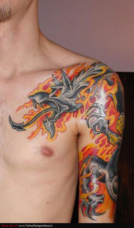 Fire Dragon Tattoo On Shoulder