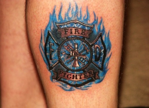 Firefighter Tattoo n Blue Flames