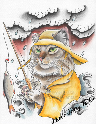 Fishing Cat Neo Traditional Tattoo Flash